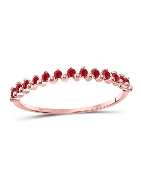 10kt Rose Gold Womens Round Ruby Single Row Stackable Ring 1/8 Cttw