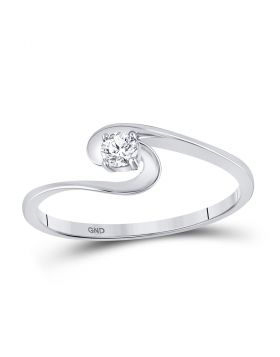 10kt White Gold Womens Round Diamond Solitaire Swirl Promise Bridal Ring 1/10 Cttw