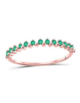 10kt Rose Gold Womens Round Emerald Stackable Band Ring 1/8 Cttw