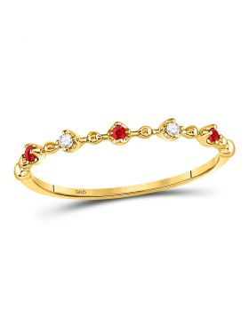 10kt Yellow Gold Womens Round Ruby Diamond Beaded Stackable Band Ring 1/20 Cttw