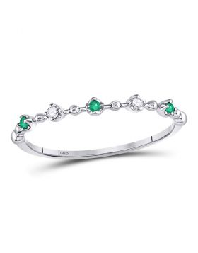 10kt White Gold Womens Round Emerald Slender Stackable Band Ring 1/12 Cttw