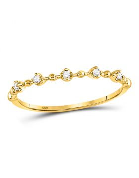 10kt Yellow Gold Womens Round Diamond Bead Dot Stackable Ring 1/20 Cttw