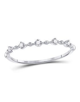 10kt White Gold Womens Round Diamond Bead Dot Stackable Ring 1/20 Cttw