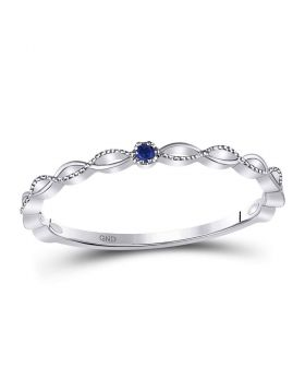 10kt White Gold Womens Round Blue Sapphire Milgrain Stackable Band Ring .01 Cttw