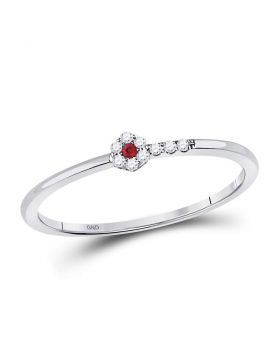 10kt White Gold Womens Round Ruby Diamond Stackable Band Ring 1/20 Cttw