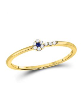 10kt Yellow Gold Womens Round Blue Sapphire Diamond Stackable Band Ring 1/12 Cttw