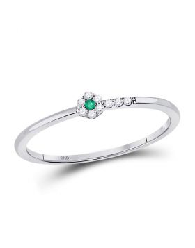 10kt White Gold Womens Round Emerald Diamond Stackable Band Ring 1/20 Cttw