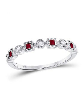 10kt White Gold Womens Princess Ruby Diamond Square Dot Milgrain Stackable Band Ring 1/8 Cttw