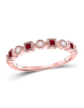 10kt Rose Gold Womens Princess Ruby Diamond Square Dot Milgrain Stackable Band Ring 1/8 Cttw