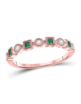 10kt Rose Gold Womens Princess Emerald Diamond Square Dot Milgrain Stackable Band Ring 1/8 Cttw