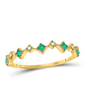 10kt Yellow Gold Womens Round Emerald Diamond Square Stackable Band Ring 1/5 Cttw
