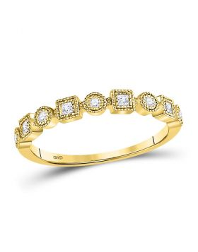 10kt Yellow Gold Womens Round Diamond Square Dot Stackable Band Ring 1/6 Cttw