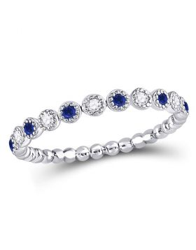 10kt White Gold Womens Round Blue Sapphire Diamond Beaded Dot Stackable Band Ring 1/6 Cttw