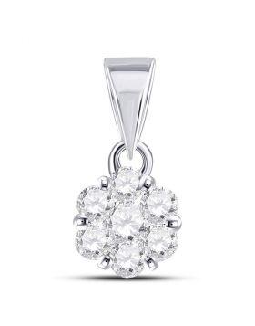 14K White Gold Womens Round Diamond Flower Cluster Charm Pendant 1/2 Cttw