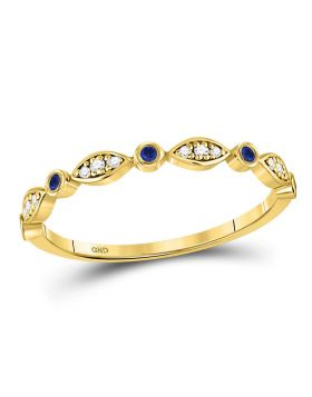 10kt Yellow Gold Womens Round Blue Sapphire Diamond Marquise Dot Stackable Band Ring 1/8 Cttw