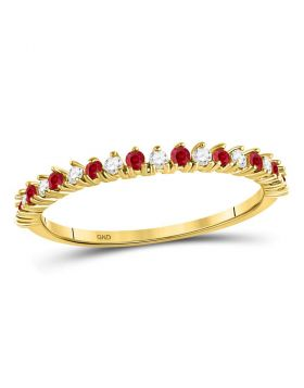 10kt Yellow Gold Womens Round Ruby Diamond Single Row Stackable Band Ring 1/4 Cttw