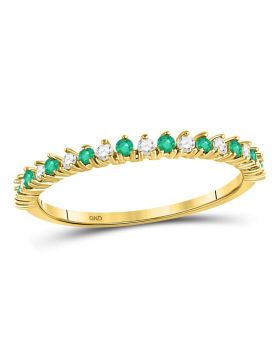 10kt Yellow Gold Womens Round Emerald Diamond Single Row Stackable Band Ring 1/5 Cttw