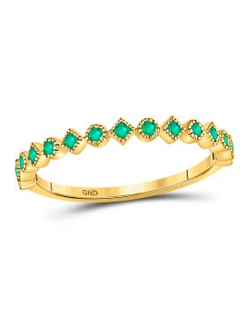 10kt Yellow Gold Womens Round Emerald Square Dot Stackable Band Ring 1/5 Cttw