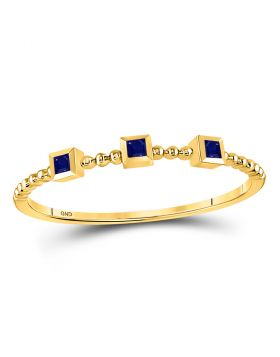 10kt Yellow Gold Womens Princess Blue Sapphire 3-Stone Beaded Stackable Band Ring 1/20 Cttw