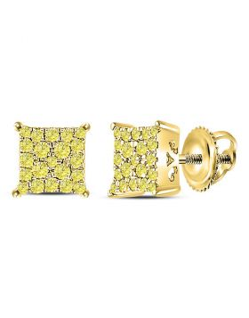 10kt Yellow Gold Womens Round Yellow Diamond Square Cluster Earrings 1/4 Cttw
