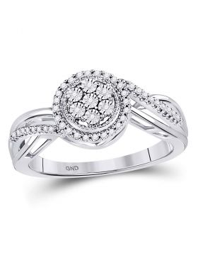10kt White Gold Womens Round Diamond Flower Cluster Ring 1/6 Cttw
