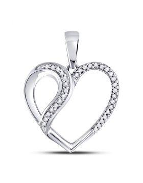 10kt White Gold Womens Round Diamond Heart Fashion Pendant 1/10 Cttw