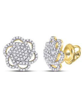 10kt Yellow Gold Womens Round Diamond Pinwheel Cluster Earrings 3/8 Cttw