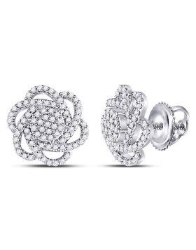 10kt White Gold Womens Round Diamond Pinwheel Cluster Earrings 3/8 Cttw