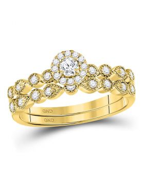 10kt Yellow Gold Womens Round Diamond Stackable Bridal Wedding Engagement Ring Band Set 1/3 Cttw