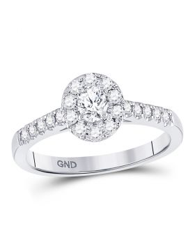 14kt White Gold Womens Oval Diamond Solitaire Bridal Wedding Engagement Ring 1/5 Cttw