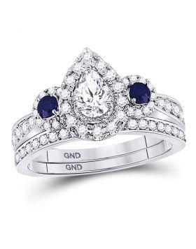 14kt White Gold Womens Pear Diamond Shayna Bridal Wedding Engagement Ring Band Set 1.00 Cttw