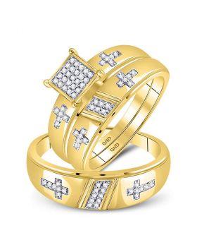 10kt Yellow Gold His & Hers Diamond Cross Matching Bridal Wedding Ring Band Set 1/12 Cttw