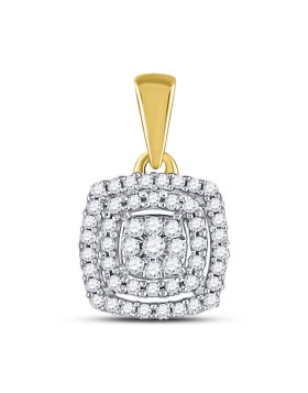 10kt Yellow Gold Womens Round Diamond Square Frame Cluster Pendant 1/8 Cttw