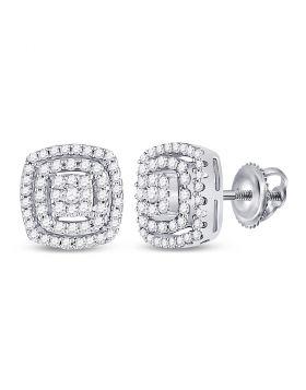 10kt White Gold Womens Round Diamond Square Frame Cluster Earrings 1/4 Cttw