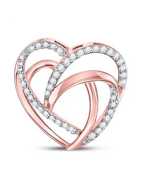 10kt Rose Gold Womens Round Diamond Openwork Heart Pendant 1/12 Cttw