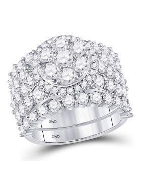 14kt White Gold Womens Round Diamond Bridal Wedding Engagement Ring Band Set 5.00 Cttw