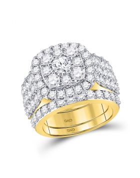 14kt Yellow Gold Womens Round Diamond Bridal Wedding Engagement Ring Band Set 3-3/4 Cttw