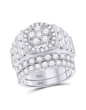 14kt White Gold Womens Round Diamond Bridal Wedding Engagement Ring Band Set 3-5/8 Cttw