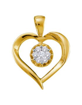 14kt Yellow Gold Womens Round Diamond Heart Cluster Pendant 1/4 Cttw