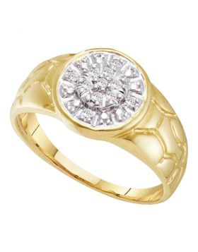 10KT YELLOW GOLD ROUND DIAMOND CLUSTER NUGGET RING 1/8 CTTW