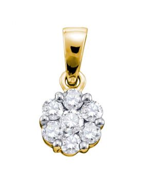 14kt Yellow Gold Womens Round Diamond Flower Cluster Pendant 1.00 Cttw