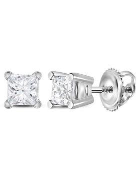 14kt White Gold Unisex Princess Diamond Solitaire Stud Earrings 3/8 Cttw