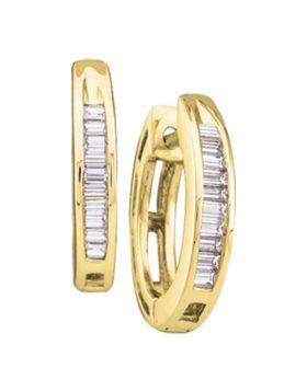 10kt Yellow Gold Womens Baguette Diamond Huggie Hoop Earrings 1/8 Cttw