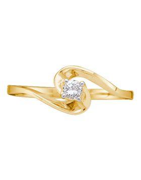 10kt Yellow Gold Womens Round Diamond Round Swirl Promise Bridal Ring 1/10 Cttw