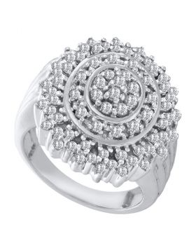 10kt White Gold Womens Round Diamond Concentric Circle Cluster Ring 1.00 Cttw