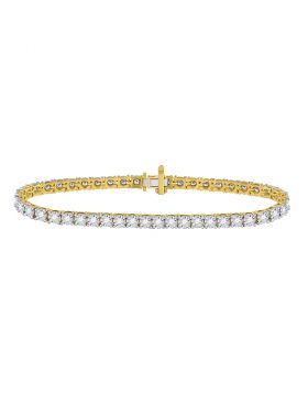 10kt Yellow Gold Womens Round Diamond Studded Tennis Bracelet 2.00 Cttw