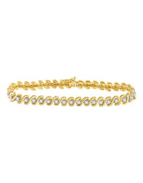 10kt Yellow Gold Womens Round Diamond Studded Tennis Bracelet 1/2 Cttw