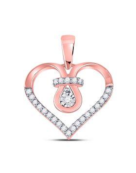 10kt Rose Gold Womens Round Diamond Heart Knot Pendant 1/5 Cttw
