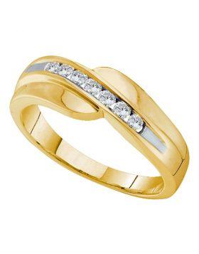 14KT YELLOW GOLD ROUND DIAMOND CURVED WEDDING ANNIVERSARY BAND 1/4 CTTW