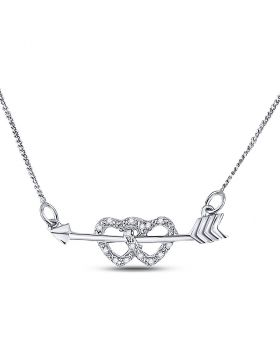 Sterling Silver Womens Round Diamond Double Heart Arrow Necklace 1/20 Cttw